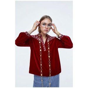 Zara Embroidered Velvet Shirt